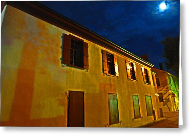 Moonlit Night Greeting Cards - Moonlit Streets Greeting Card by Peter  McIntosh