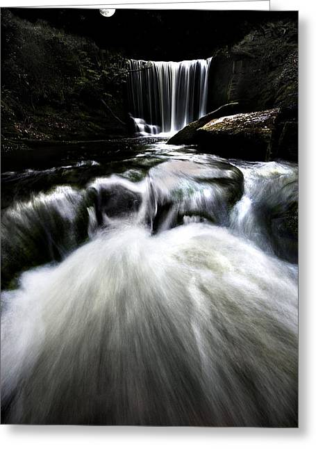 Stars Fall Greeting Cards - Moonlit Waterfall Greeting Card by Meirion Matthias