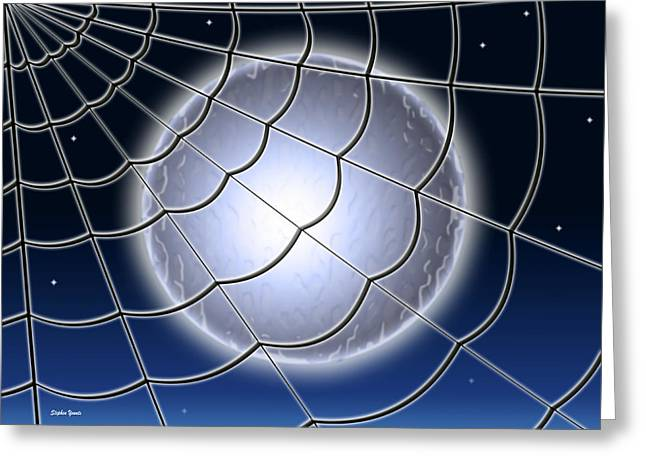 Spun Web Greeting Cards - Moonlit Web Greeting Card by Stephen Younts