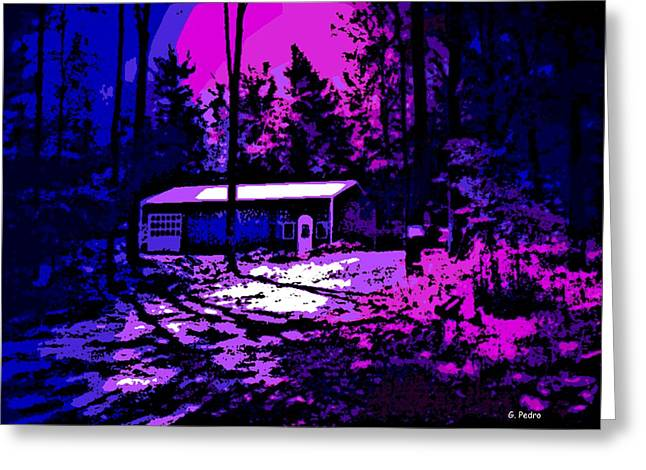 Snow-covered Landscape Digital Art Greeting Cards - Moonlit Winter Night in the Poconos Greeting Card by George Pedro