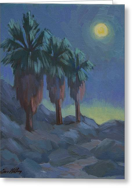 Moonlit Night Greeting Cards - Moonrise and Three Palms Greeting Card by Diane McClary