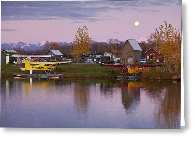 Moon Rise Greeting Cards - Moonrise at Lake Hood Greeting Card by Tim Grams