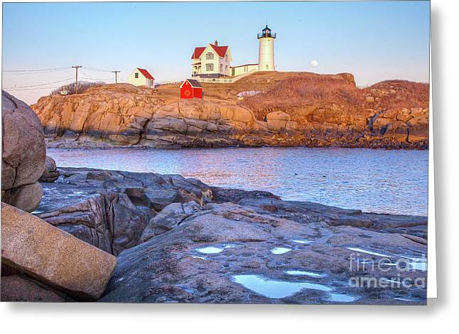 Cape Neddick Greeting Cards - Moonrise at Nubble Light  Greeting Card by Susan Cole Kelly