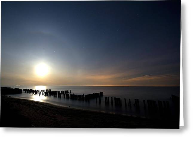 Moon Beach Greeting Cards - Moonrise at the Beach Greeting Card by Cale Best