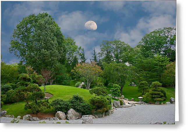 Moonrise Meditation Greeting Card by Charles Warren