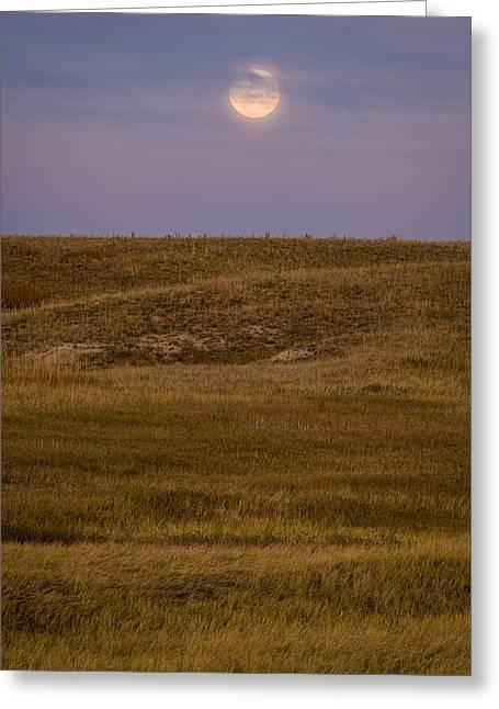 Moonrise Greeting Cards - Moonrise Over Badlands South Dakota Greeting Card by Steve Gadomski