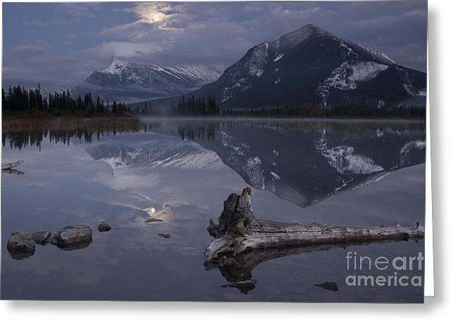 Snow-covered Landscape Photographs Greeting Cards - Moonrise over Banff Greeting Card by Keith Kapple