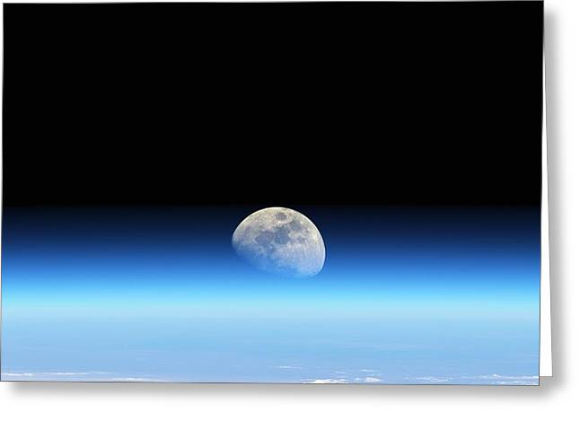 Moonrise Greeting Cards - Moonrise Over Earth Greeting Card by Detlev Van Ravenswaay
