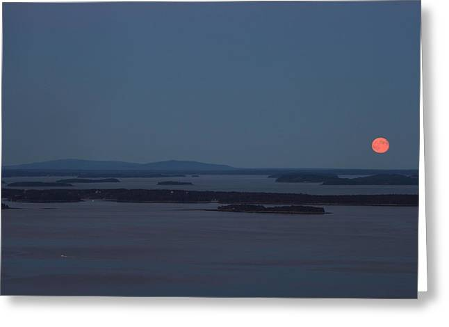 Moonrise Over Penobscot Bay And Acadia National Park From Camden Hills Greeting Card by John Burk