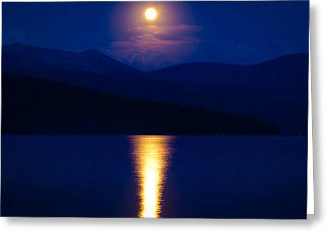 Chimney Rock Greeting Cards - Moonrise over Priest Lake Greeting Card by David Patterson