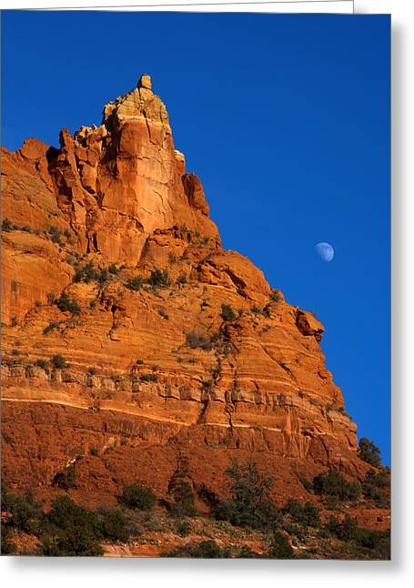 Moonrise Greeting Cards - Moonrise over Red Rock Greeting Card by Mike  Dawson