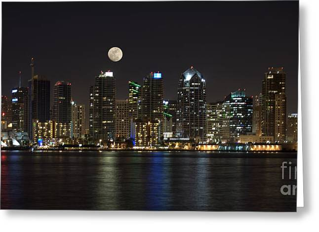 San Diego Harbor Greeting Cards - Moonrise over San Diego Greeting Card by Sandra Bronstein