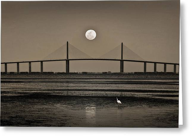 Tampa Bay Florida Greeting Cards - Moonrise Over Skyway Bridge Greeting Card by Steven Sparks