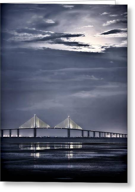 Skyway Greeting Cards - Moonrise Over Sunshine Skyway Bridge Greeting Card by Steven Sparks