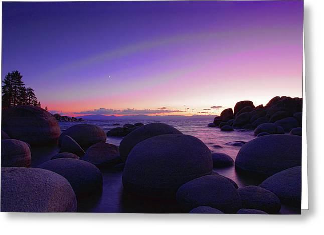 Sand Harbor Greeting Cards - Moonrise over Tahoe Greeting Card by Rick Berk