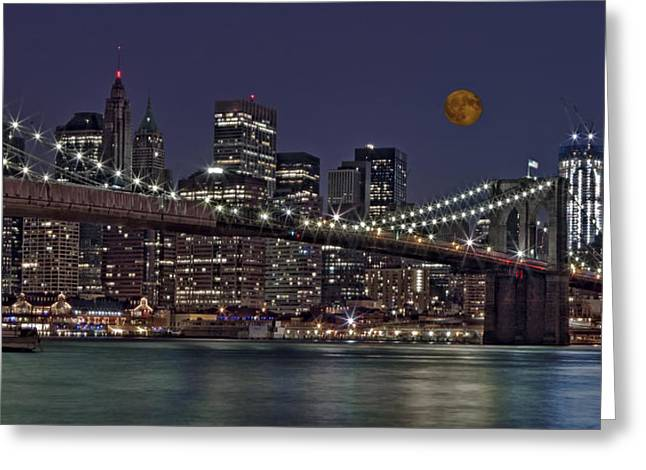 Pier 17 Greeting Cards - Moonrise Over The Brooklyn Bridge Greeting Card by Susan Candelario