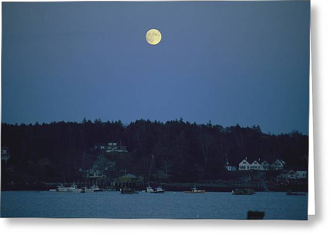 Moonlight Scene Greeting Cards - Moonrise Over The Coastline Greeting Card by Nick Caloyianis