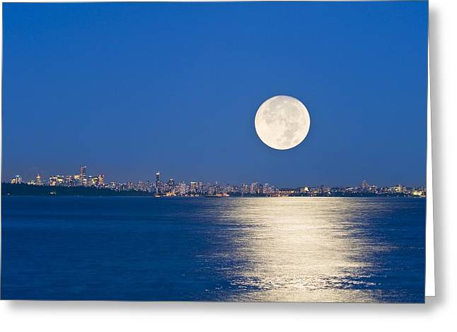 North Vancouver Greeting Cards - Moonrise Over Vancouver Harbour Greeting Card by David Nunuk