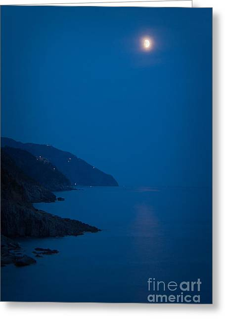 Moonrise Over Vernazza Greeting Card by Doug Sturgess