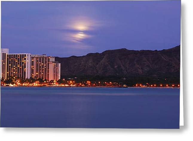 Moonrise Greeting Cards - Moonrise over Waikiki Panorama Greeting Card by Richard Keith