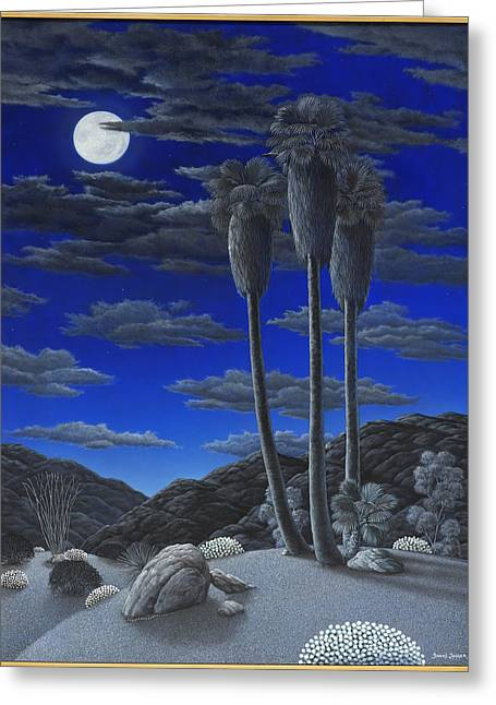 Sand Dunes Paintings Greeting Cards - Moonrise Greeting Card by Snake Jagger