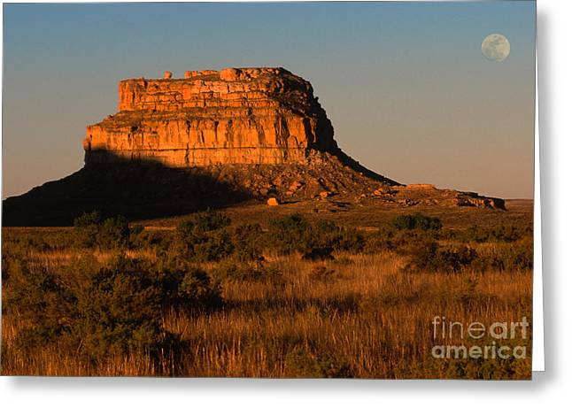 Natural Formations Greeting Cards - Moonset At Fajada Butte Greeting Card by Sandra Bronstein