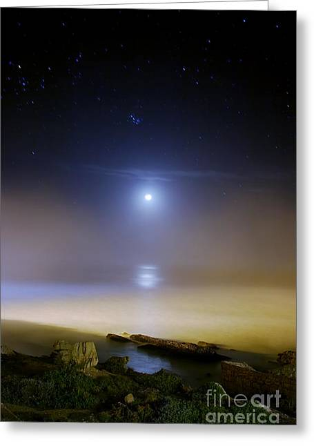 Land Feature Greeting Cards - Moonset Over The Sea With Pleiades M45 Greeting Card by Filipe Alves