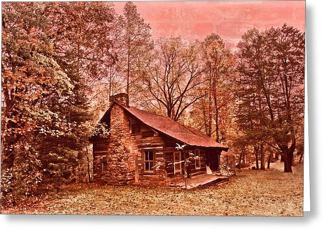 Log Cabins Framed Prints Greeting Cards - Moonshine Greeting Card by Debra and Dave Vanderlaan