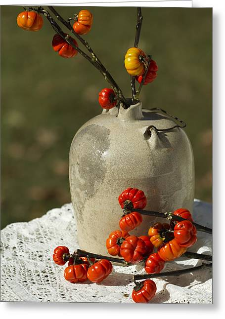 Wire Handle Greeting Cards - Moonshine Jug and Pumpkin On A Stick Greeting Card by Kathy Clark