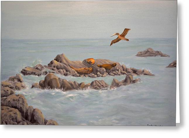 Elephant Seals Paintings Greeting Cards - Moonstone Beach Tidepool Greeting Card by Sandy Jacobs