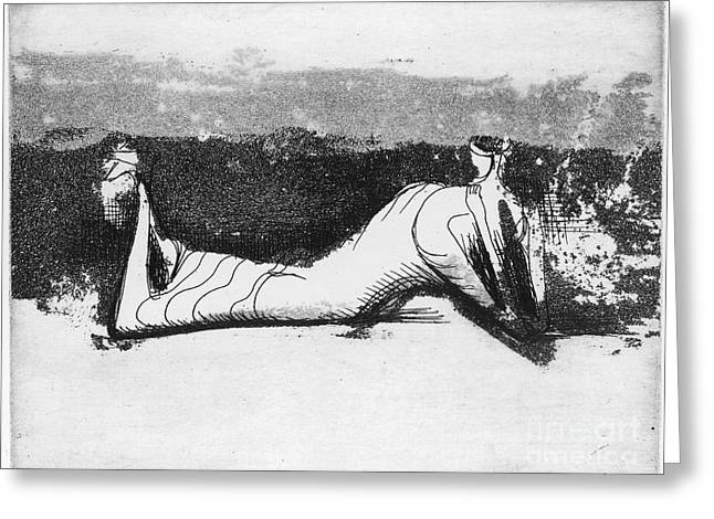 1951 Greeting Cards - Moore: Reclining Figure Greeting Card by Granger