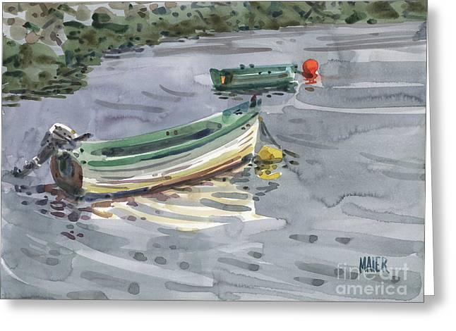 Moored Greeting Cards - Moored Boats Greeting Card by Donald Maier