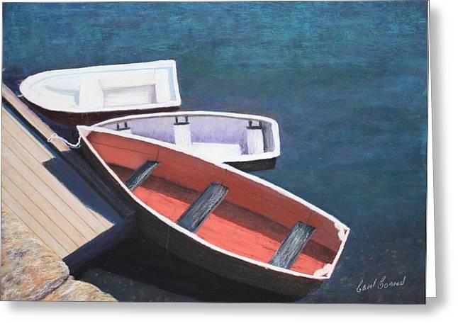 Docked Boats Pastels Greeting Cards - Moored Greeting Card by Carol Conrad