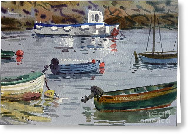 Moored Fishing Boats Greeting Card by Donald Maier