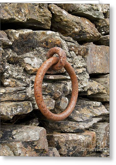 Www.picsl8.co.uk Greeting Cards - Mooring ring and rust Greeting Card by Steev Stamford