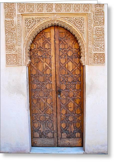 Moorish Greeting Cards - Moorish Door in Alhambra Greeting Card by Dorota Nowak