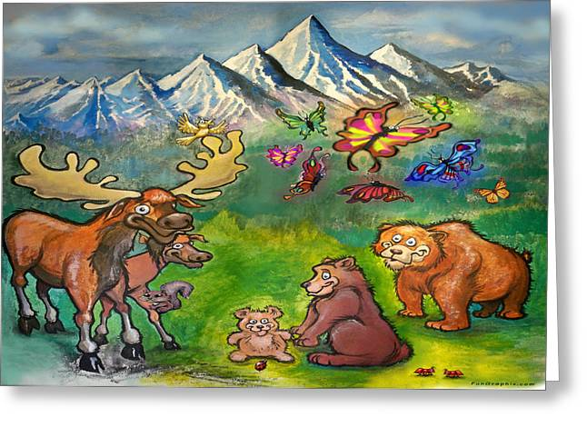 Moose And Bears Greeting Card by Kevin Middleton