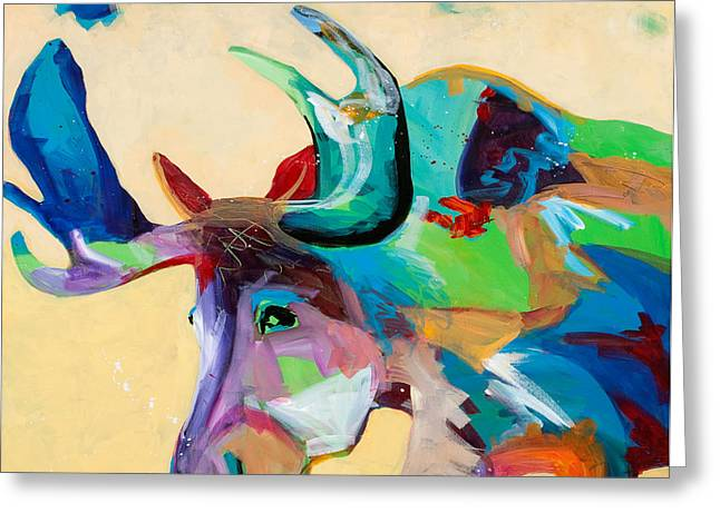 Western Abstract Greeting Cards - Moose and Blue Clouds Greeting Card by Tracy Miller