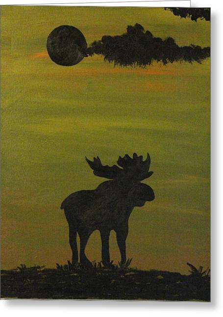 Hunting Cabin Greeting Cards - Moose Greeting Card by Brandi Webster