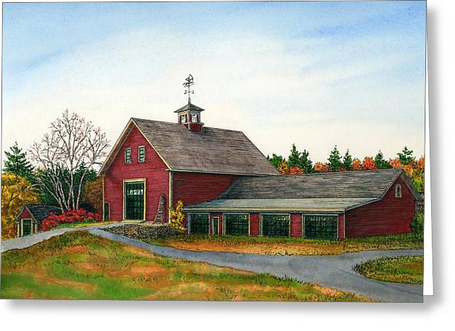 Red Barn Prints Greeting Cards - Moose Hill Barn Greeting Card by Elaine Farmer
