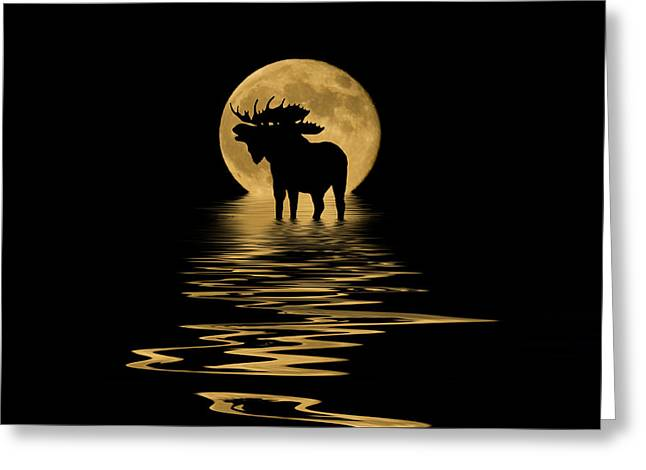 Full Moon Mixed Media Greeting Cards - Moose in the Moonlight Greeting Card by Shane Bechler