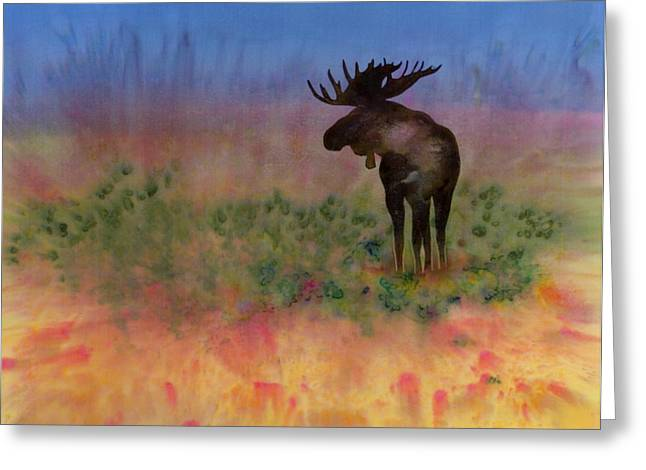Animal Tapestries - Textiles Greeting Cards - Moose on the tundra Greeting Card by Carolyn Doe