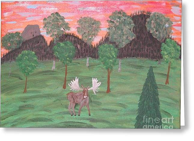 Moose Stretched Canvas Greeting Cards - Moose Sunset Greeting Card by Gregory Davis