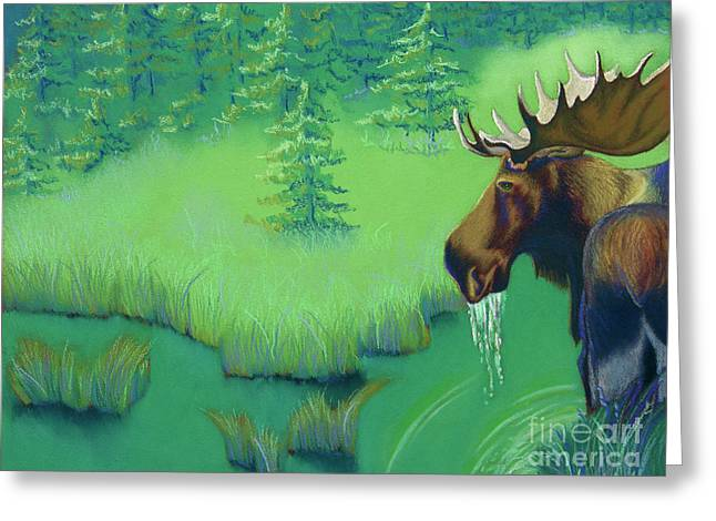 Hunting Pastels Greeting Cards - Moose Greeting Card by Tracy L Teeter