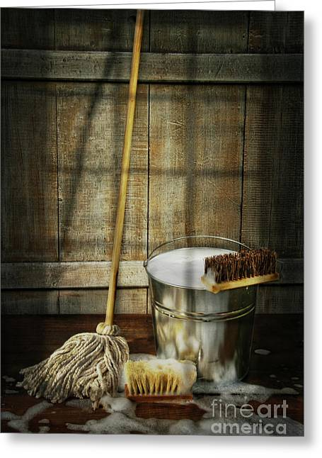 Wet Floor Greeting Cards - Mop with bucket and scrub brushes Greeting Card by Sandra Cunningham