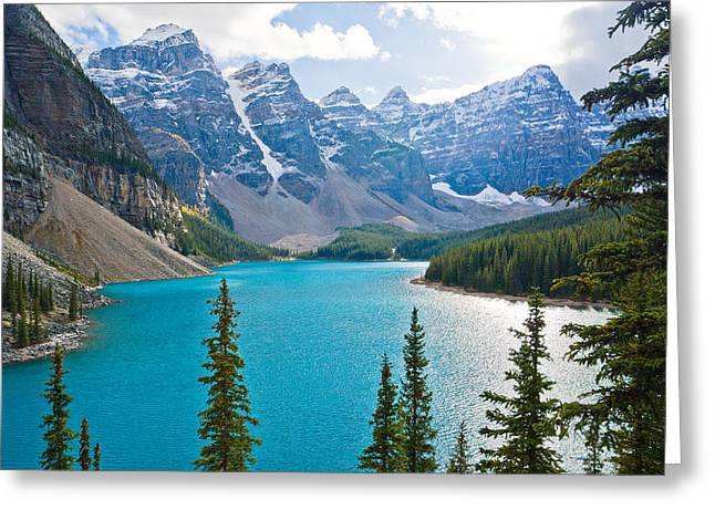 Alberta Greeting Cards - Moraine Lake Greeting Card by Adam Pender