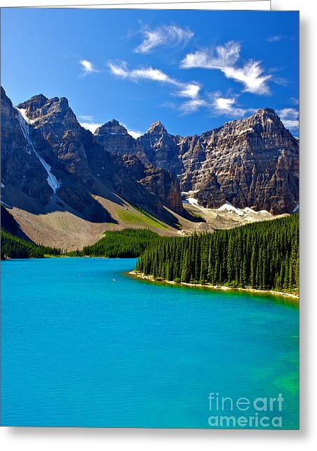 Flour Greeting Cards - Moraine Lake Greeting Card by James Steinberg and Photo Researchers
