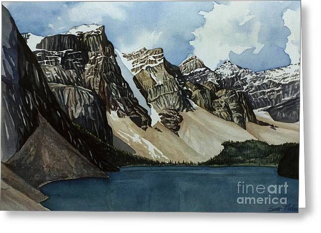 Scott Nelson Paintings Greeting Cards - Moraine Lake Greeting Card by Scott Nelson