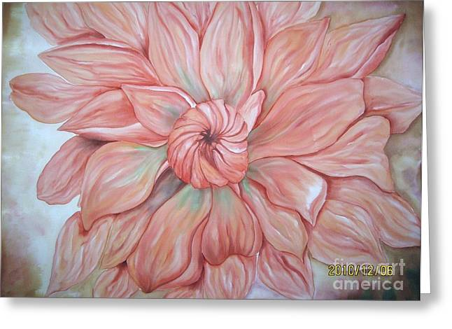 Orange Tapestries - Textiles Greeting Cards - More dahlias Greeting Card by Husna Rafath