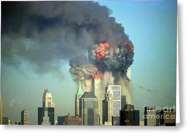 Wtc 11 Greeting Cards - More Smoke And Flames Greeting Card by Mark Gilman